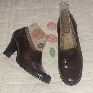 AEROSOLES BROWN LEATHER ANKLE BOOTS SZ 9M
